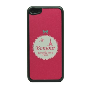 Glitter Powder Hard Back Case for iPhone 5c - Bowknot and Eiffel Tower