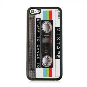For iPhone 5c Case, Mix Cassette Tape Leather Coated Hard Cover