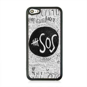 SOS Word Leather Coated PC Protective Case for iPhone 5c