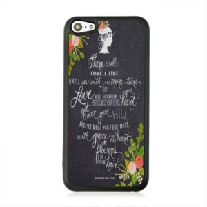 Leather Coated PC Protective Case for iPhone 5c - Beautiful Hand Writting Letter