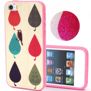 TPU Frame + Plastic Back Case for iPhone 5s 5 - Cartoon Leaves and Bird