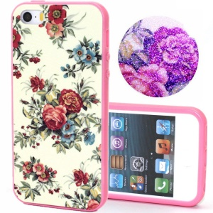 TPU Bumper + Plastic Back Case for iPhone 5s 5 - Blooming Flowers