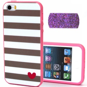 Detachable TPU + Plastic Phone Cover for iPhone 5s 5 - Stripes and Red Heart