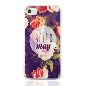 Hello May and Flowers Hard Plastic Case for iPhone 4 4S