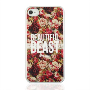 Beautiful Beast and Flowers Plastic Phone Case for iPhone 4 4S