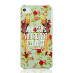 Sexy Women and Flowers Plastic Phone Cover for iPhone 4 4S
