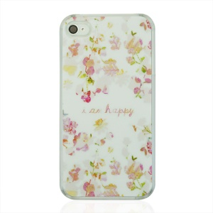 I am Happy and Flowers Protective Plastic Case for iPhone 4 4S