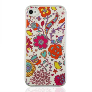Colorful Flowers Hard PC Cover for iPhone 4 4S