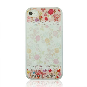 Happy Colors and Flowers Hard PC Cover Shell for iPhone 4 4S