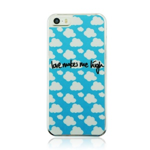 For iPhone 5 5s Plastic Hard Cover Case - Love Makes Me Laugh and Cloud Pattern