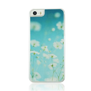 Sweet White Flowers Pattern PC Hard Cover Case for iPhone 5 5s