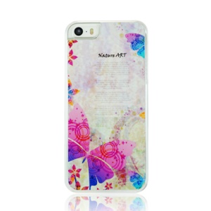 Butterfly and Plants Pattern Plastic Phone Case for iPhone 5 5s