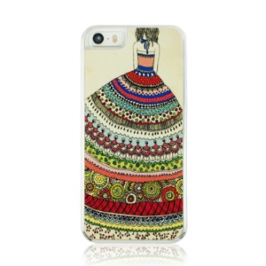 PC Plastic Phone Case for iPhone 5 5s - Flower Skirt Girl Pattern