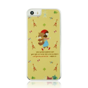 PC Plastic Phone Case for iPhone 5 5s - Little Girl and Eiffel Tower