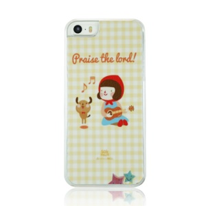 For iPhone 5 5s PC Plastic Phone Case - Girl Playing the Guitar