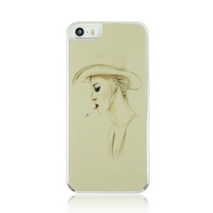 For iPhone 5 5s PC Plastic Phone Case - Smoking Lady
