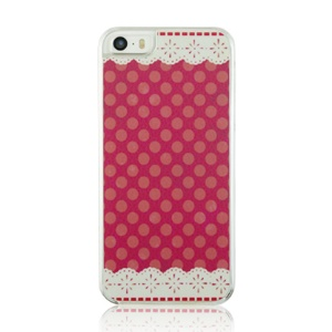 For iPhone 5 5s PC Hard Phone Case - Lace and Dots Pattern