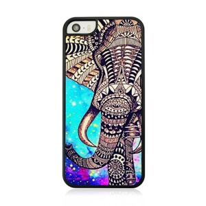 Leather Coated Hard Cover Case for iPhone 5s 5 - Zentangle Elephant