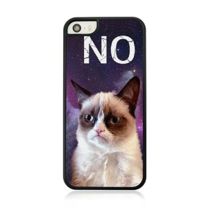 Leather Coated Hard Back Case for iPhone 5s 5 - Cat Says No