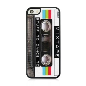 For iPhone 5s 5 Leather Coated Hard Phone Case - Old Style Cassette