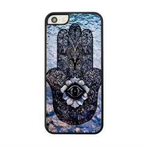 For iPhone 5s 5 Leather Coated Hard Case Shell - Hamsa Hand of Fatima