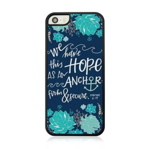 Quote Anchor and Flower Plastic Phone Case for iPhone 5 5s
