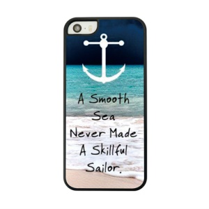 Anchor and Quote Protective PC Back Cover for iPhone 5 5s