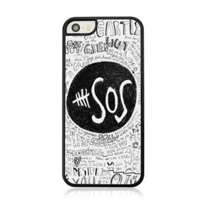 For iPhone 5 5s Plastic Hard Cover Case - SOS Pattern