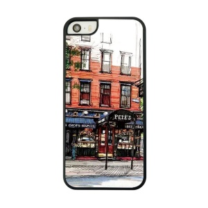 Red Building Place Painted Plastic Cover for iPhone 5 5s