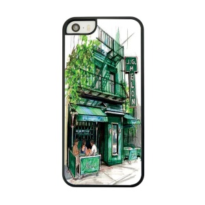 Green Hotel Building Place Painted Plastic Cover for iPhone 5 5s