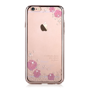 DEVIA Crystal Plating PC Hard Case Cover for iPhone 6 6s - Pretty Roses and Butterflies
