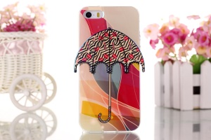 Zebra Stripes & Red Lip 3D Umbrella Gel TPU Cover for iPhone 5 5s