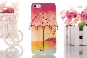 Seaside Scenery & Cherry 3D Umbrella Gel TPU Case for iPhone 5 5s