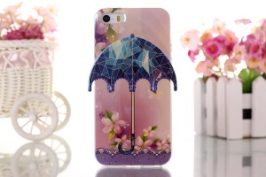 Flower & Glass 3D Umbrella Gel TPU Shell for iPhone 5 5s