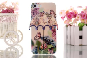 Butterfly & Flowers 3D Umbrella Gel TPU Phone Case for iPhone 5 5s