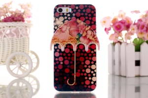 Polka Dots & Flowers 3D Umbrella Gel TPU Cover for iPhone 5 5s