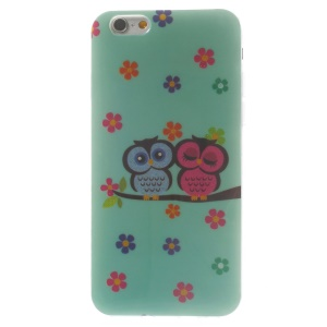 Flash Powder Glossy TPU Shell for iPhone 6 4.7 inch - Flowers & Couple Owls on Branch