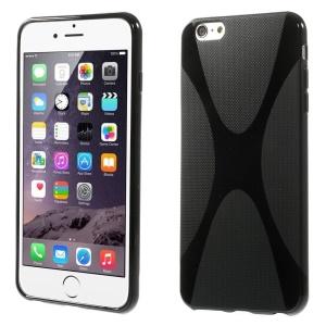 X Shape Anti-slip TPU Case for iPhone 6 Plus - Black