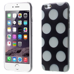 For iPhone 6 Plus Polka Dots TPU Gel Skin Case - White / Black