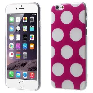 For iPhone 6 Plus Polka Dots TPU Gel Skin Case - White / Rose
