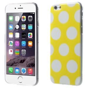 For iPhone 6 Plus Polka Dots TPU Gel Skin Cover - White / Yellow
