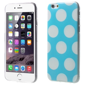 For iPhone 6 Plus Polka Dots TPU Gel Shell Case - White / Blue
