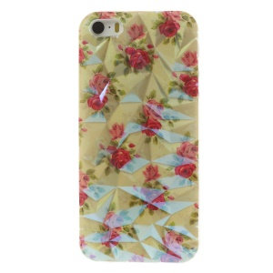 For iPhone 5 5s 3D Irregular Figures Blu-ray IMD Soft TPU Gel Case - Pretty Roses