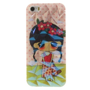 For iPhone 5 5s 3D Irregular Figures Blu-ray IMD Soft TPU Cover - Lovely Flowered Girl