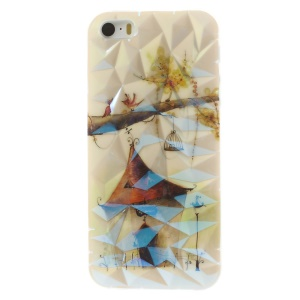 3D Irregular Figures Blu-ray IMD TPU Cover Case for iPhone 5 5s - House & Birds