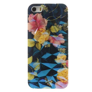 Blu-ray IMD 3D Irregular Figures TPU Shell for iPhone 5 5s - Beautiful Flowers with Leaves
