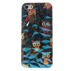 3D Irregular Figures Blu-ray IMD TPU Shell Case for iPhone 5 5s - Cute Owls