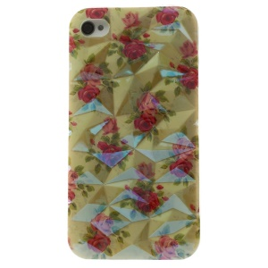 For iPhone 4 4s Blu-ray 3D Irregular Figures IMD TPU Cover Case - Pretty Roses
