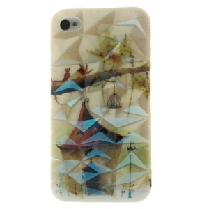 Blu-ray 3D Irregular Figures IMD TPU Shell Case for iPhone 4 4s - House & Birds