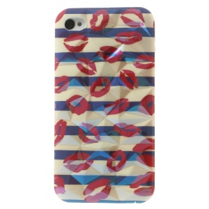 Blu-ray 3D Irregular Figures IMD TPU Back Cover for iPhone 4 4s - Sexy Red Lips